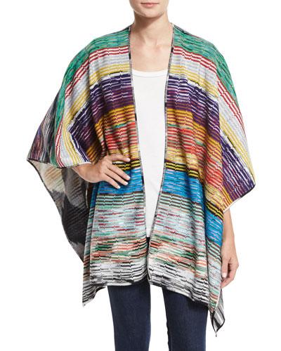 Zigzag Shimmer Poncho, Multicolor