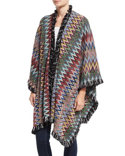 Zigzag Fringe Poncho, Multicolor