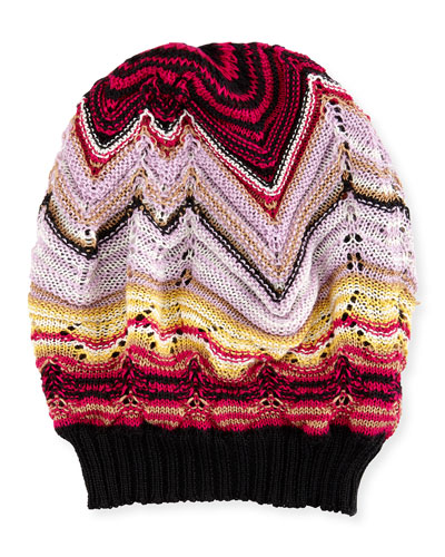 Knit Zigzag Beanie, Pink/Purple