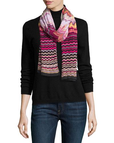 Knit Zigzag Scarf, Pink/Purple