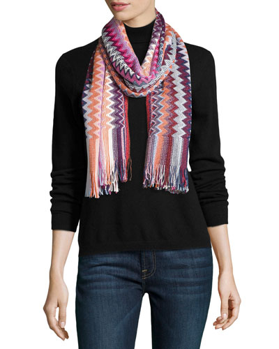 Long Metallic Fringe Zigzag Scarf, Pink/Purple