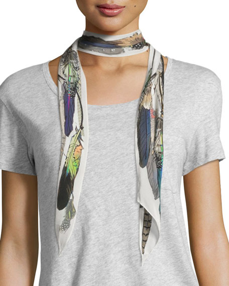 Rockins Feathers Super Skinny Silk Scarf, Ivory