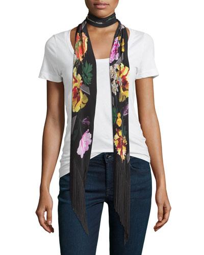 Floral Classic Skinny Fringe Silk Scarf, Black