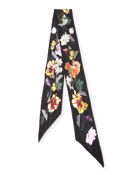 Floral Super Skinny Silk Scarf, Black