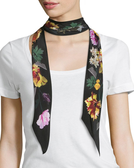 Rockins Floral Super Skinny Silk Scarf, Black