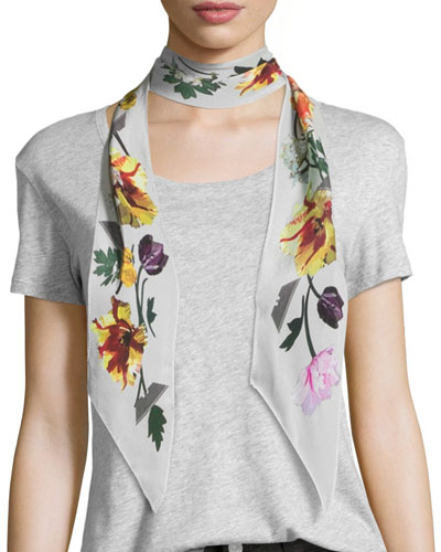 Floral Super Skinny Silk Scarf, Ivory