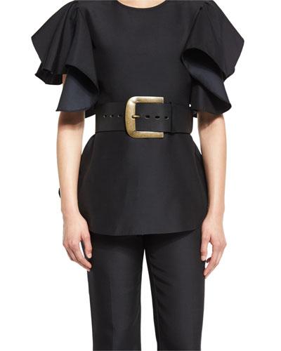 Large-Buckle Leather Belt, Gold