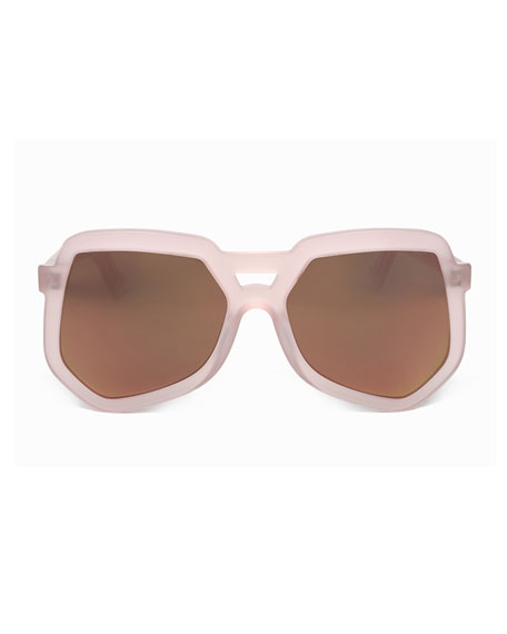 Clip Acetate Aviator Sunglasses, Pink