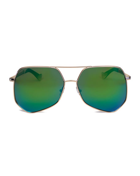 Megalast Oversized Aviator Sunglasses, Gold