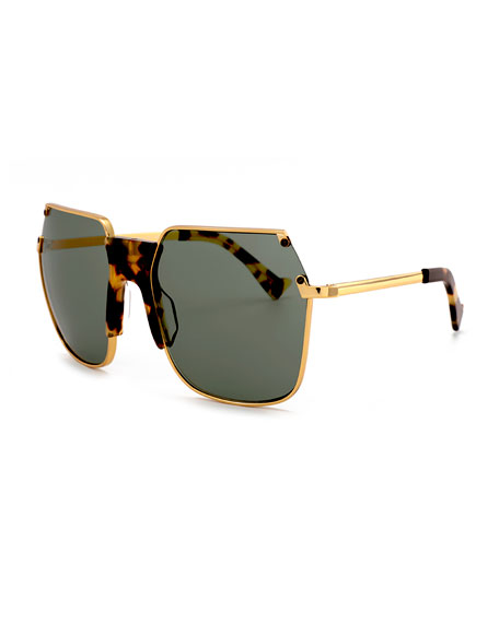 Grey Ant Rolst Angled Square Sunglasses, Gold