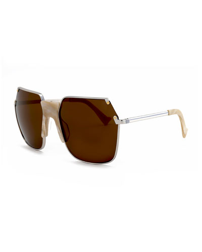 Rolst Angled Square Sunglasses, Silver