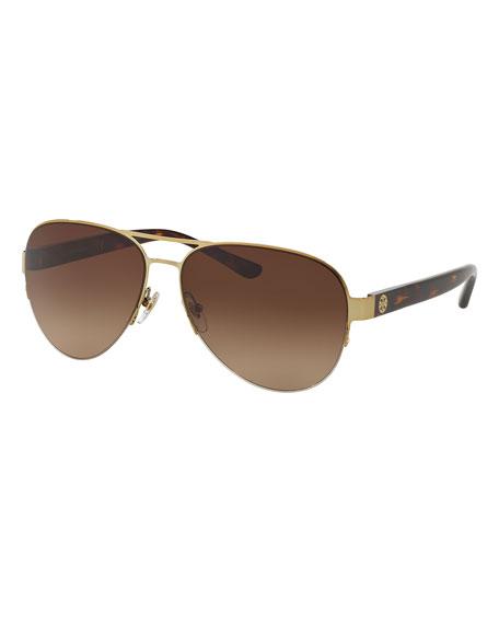 Metal Aviator Sunglasses, Gold/Tortoise