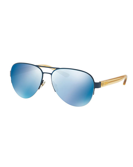 Tory BurchMirrored Metal Aviator Sunglasses, Blue
