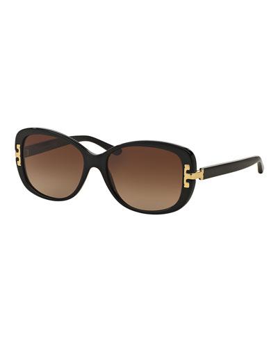 Universal-Fit Squared Cat-Eye Sunglasses, Black