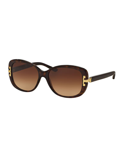 Universal-Fit Squared Cat-Eye Sunglasses, Dark Tortoise