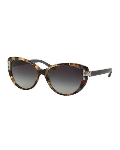 Universal-Fit Cat-Eye Sunglasses, Tortoise/Gray