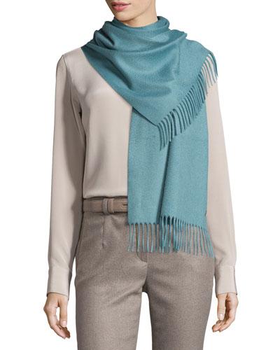 Sciarpa Grande Cashmere Scarf, Pearl Blue