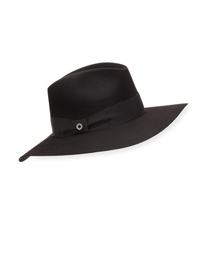 Kim Velvet Felt Floppy Hat, Black