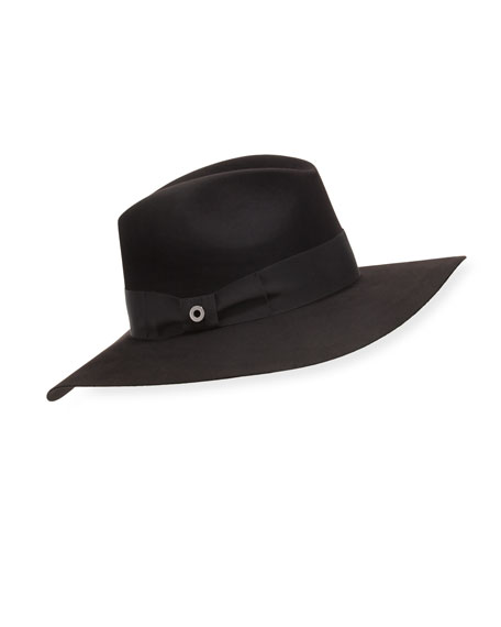 Loro Piana Kim Velvet Felt Floppy Hat, Black