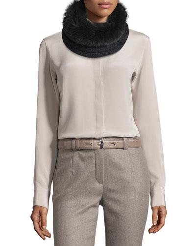 Baby Cashmere® Fur-Trim Courchevel Collar, Black