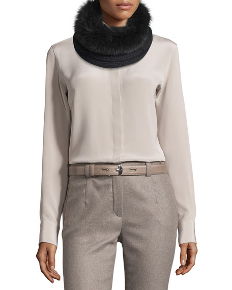 Loro Piana Baby Cashmere® Fur-Trim Courchevel Collar, Black