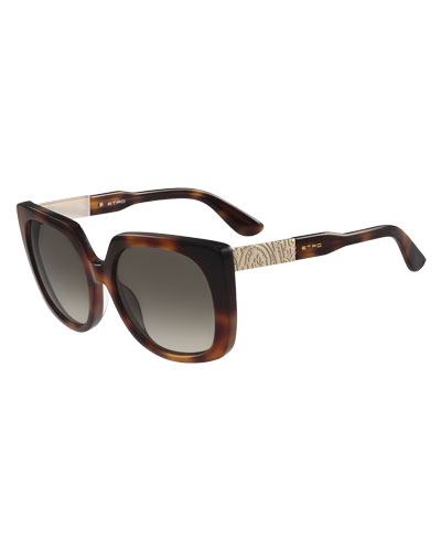 Oversized Square Paisley-Temple Sunglasses, Havana
