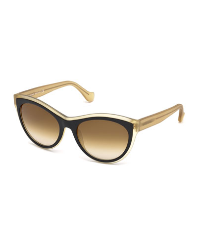 Translucent Cat-Eye Sunglasses, Black/Champagne