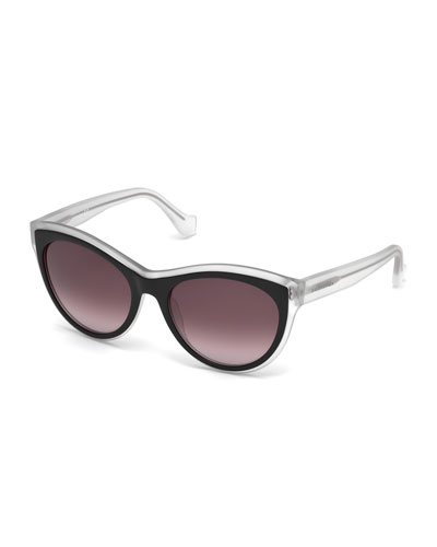 Translucent Cat-Eye Sunglasses, Black/Crystal