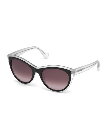 Balenciaga Translucent Cat-Eye Sunglasses, Black/Crystal