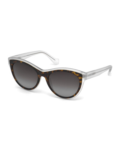 Translucent Cat-Eye Sunglasses, Havana/Crystal