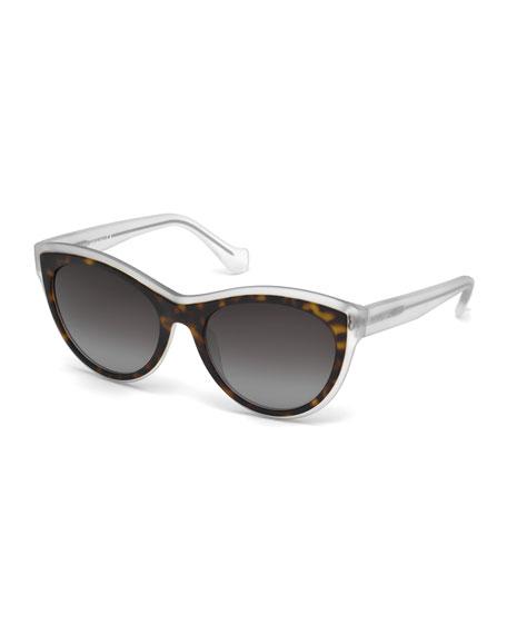 BalenciagaTranslucent Cat-Eye Sunglasses, Havana/Crystal