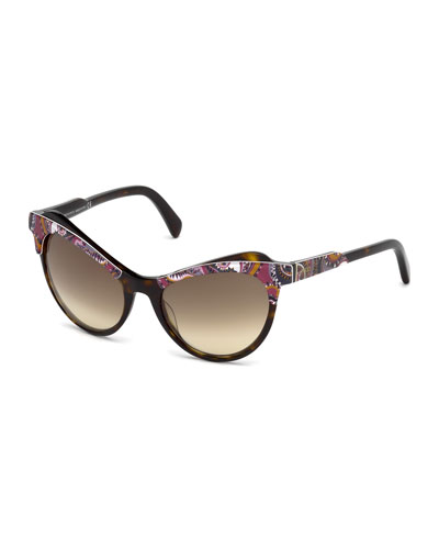 Gradient Paisley Cat-Eye Sunglasses, Brown/Pink