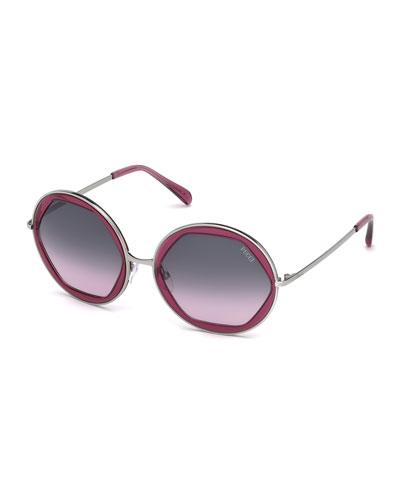 Round Geometric Sunglasses, Plum