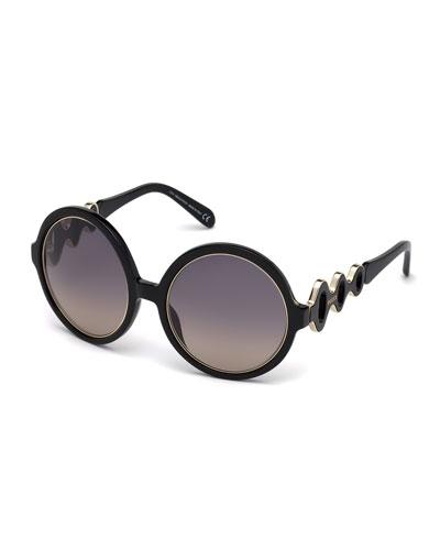 Waved Gradient Round Sunglasses, Black