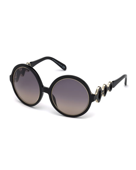 Emilio Pucci Waved Gradient Round Sunglasses, Black