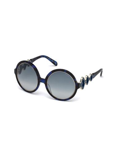 Waved Gradient Round Sunglasses, Blue