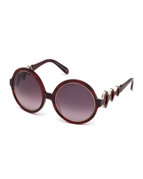 Emilio Pucci Waved Gradient Round Sunglasses, Red