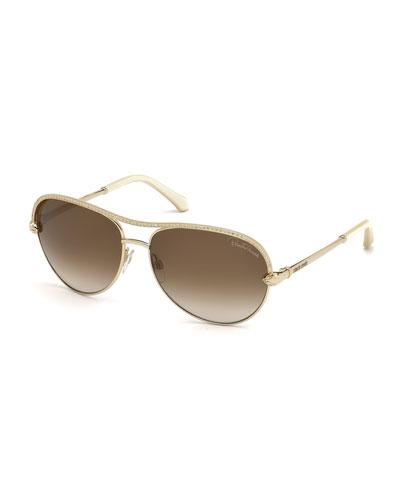 Vega Swarovski® Crystal  Aviator Sunglasses, Rose Gold/Ivory