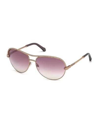 Vega Swarovski® Crystal  Aviator Sunglasses, Bronze/Violet
