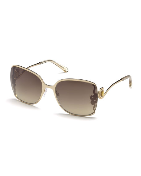 Roberto CavalliWasat Etched Butterfly Sunglasses, Rose Gold