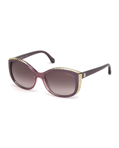 Yed Metal-Trim Butterfly Sunglasses, Rose
