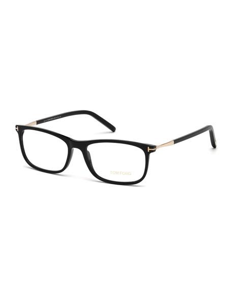 TOM FORD Square Metal-Temple Optical Frames, Black