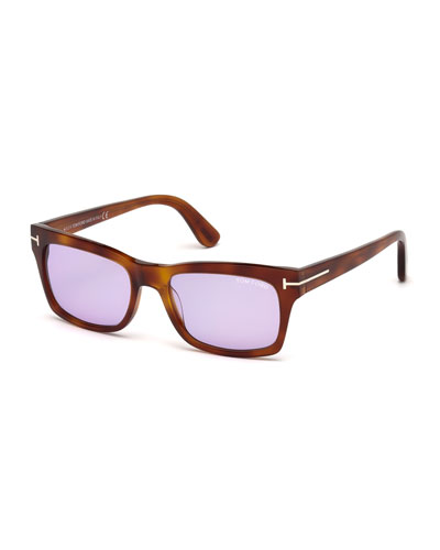 Frederick Square Monochromatic Sunglasses, Havana/Rose