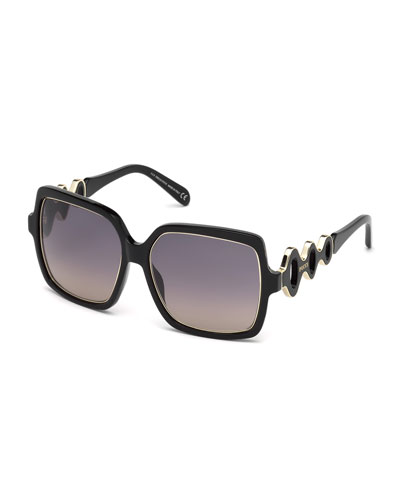 Waved Gradient Square Sunglasses, Black