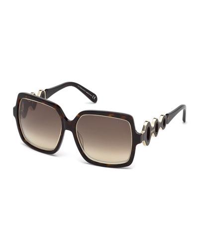 Waved Gradient Square Sunglasses, Havana