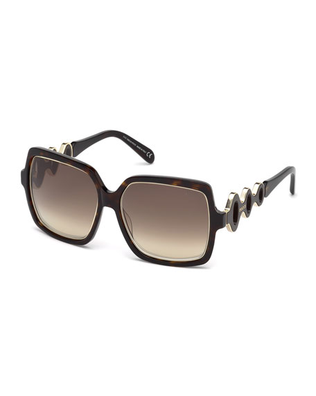 Emilio Pucci Waved Gradient Square Sunglasses, Havana