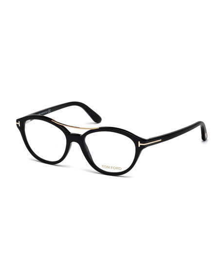 Oval Brow-Bar Optical Frames, Black