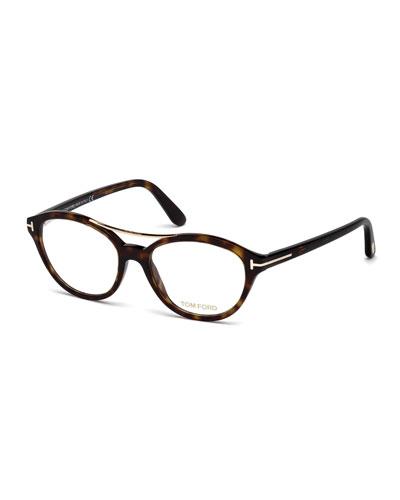 Oval Brow-Bar Optical Frames, Dark Havana