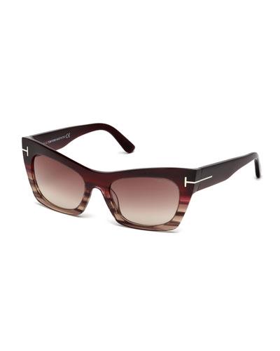 Kasia Streaked Cat-Eye Sunglasses, Burgundy