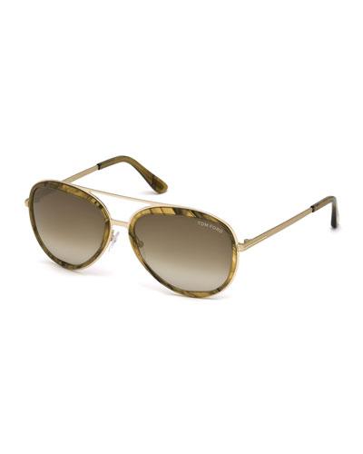 Andy Trimmed Aviator Sunglasses, Rose Gold/Honey
